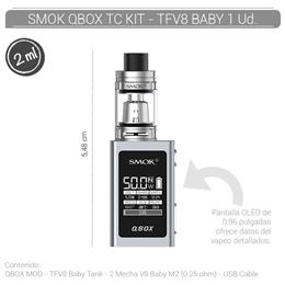 SMOK QBOX TC KIT WITH TFV8 BABY SILVER 1 Ud. [215944]