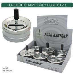 CENICERO CHAMP GREY PUSH 9 cm. 6 Uds. 40447657