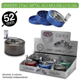 GRINDER 3 Part. CONEY METAL ALU MOLINILLO 52 mm. 6 Uds. 02.12434