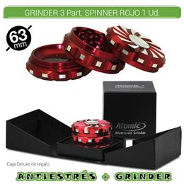 GRINDER 3 Part. ATOMIC PREMIUM SPINNER ROJO 63 mm. 1 Ud. 02.12485