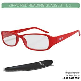 ZIPPO RED READING GLASSES +3.50 DIOT TRIE 1 Ud. 31Z031-RED350