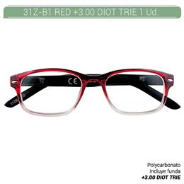 ZIPPO RED READING GLASSES +3.00 DIOT TRIE 1 Ud. 31Z-B1-RED300 2004854