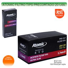 ATOMIC FILTROS TIPS PRECORTADO 20 Uds. 01.63200