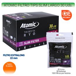 ATOMIC FILTROS TIPS SLIM LARGO 30 Uds. 01.63001