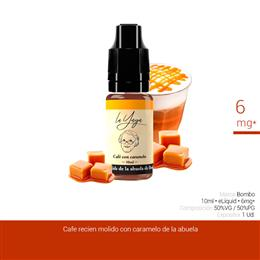 BOMBO E-LIQUID LA YAYA CAFE CON CARAMELO 06 mg 10 ml 1 Ud.